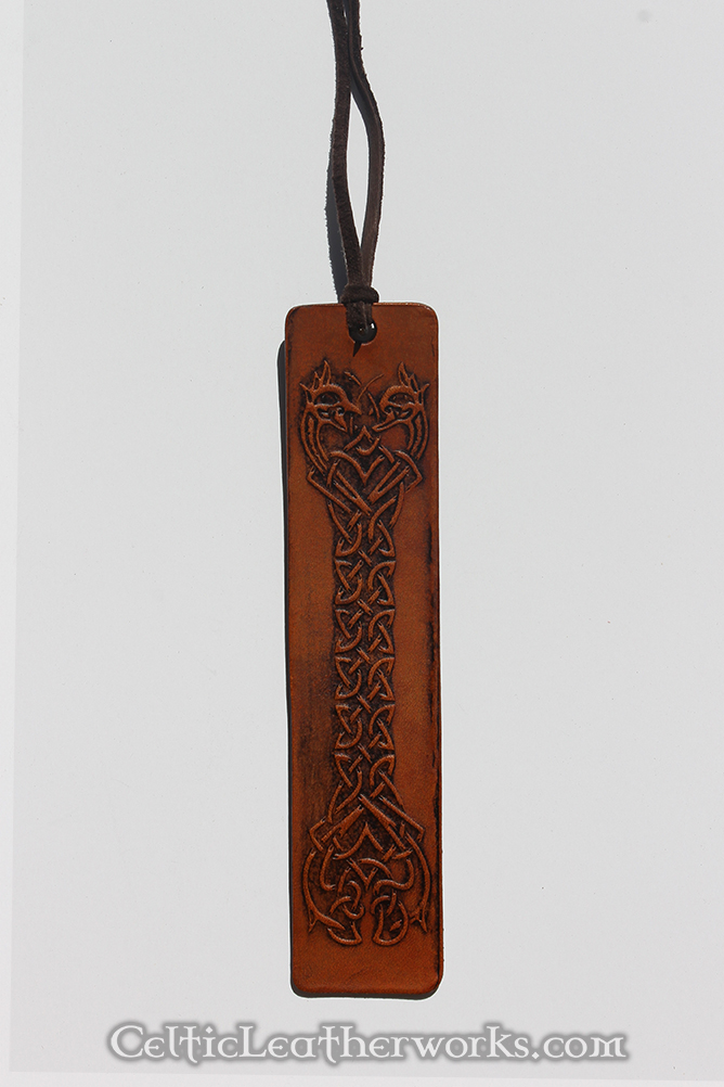 Knotted Dragon Leather Bookmark