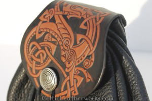 This Celtic Dragon flap is for the Interchangeable Flap Sporran by Celtic Leatherworks. The hand tooled design was illustrated by Vitor Gonzalez at Ars Celtica