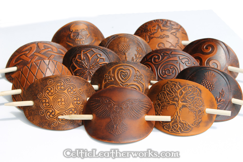 Quality Leather Hair Barrettes