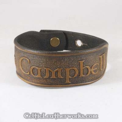 This is the Clan Campbell  leather cuff.  Show your Scottish pride with this classic bracelet. It is a 3 sizes in 1 unisex bracelet. It has holes punched at 7, 8, and 9 inches to fit most size wrists.